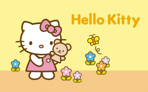 Classical Yellow Background Hello Kitty Wallpaper