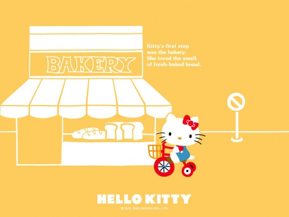Hello Kitty Bakery Wallpaper With Orange Background