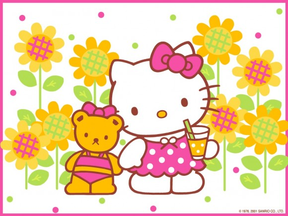 Hello Kitty Drinking Wallpaper