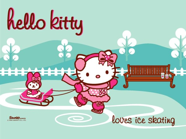 Hello Kitty ice skating
