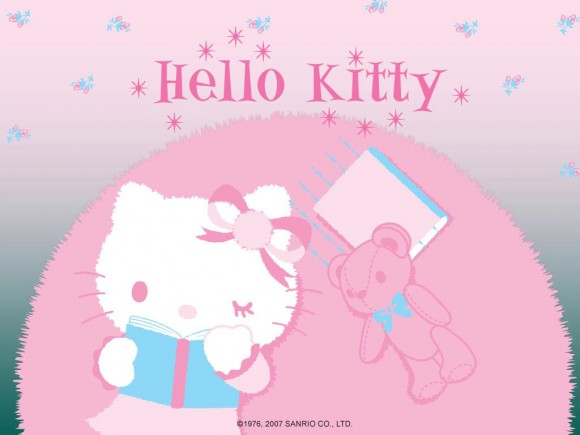 Lovely Hello Kitty Is Reading