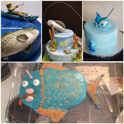 Thanks pinterest for all the fishing themed cake inspiration! I think I nailed it.