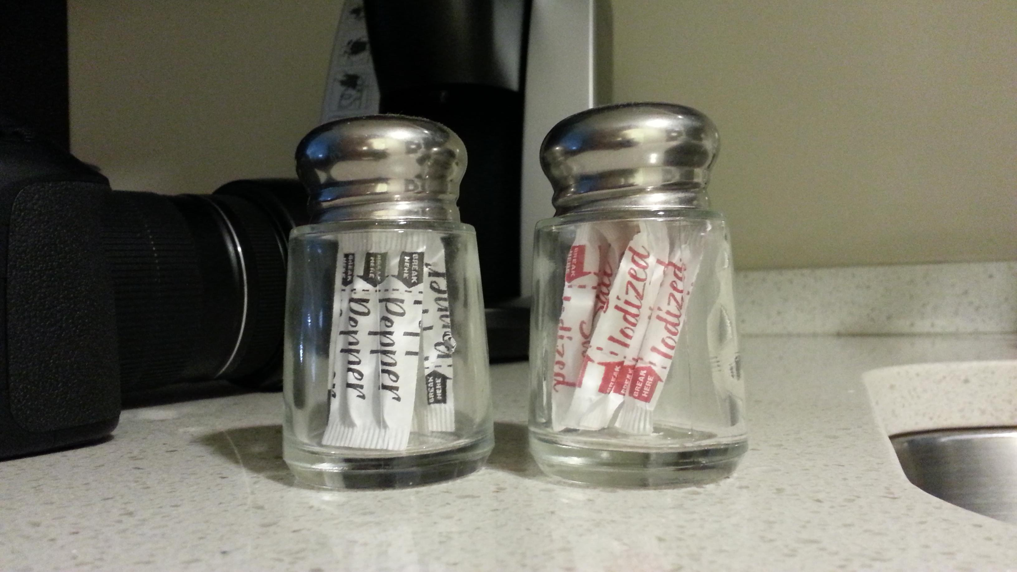 These Are The Salt And Pepper Shakers In My Hotel Suite