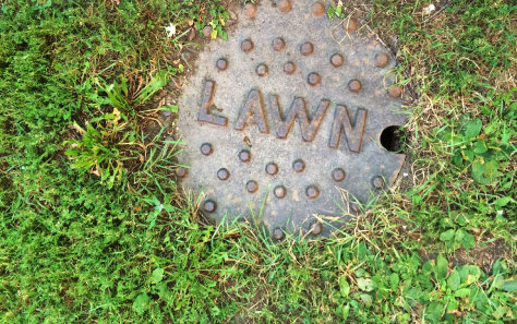 This manhole cover in the lawn says lawn on it.